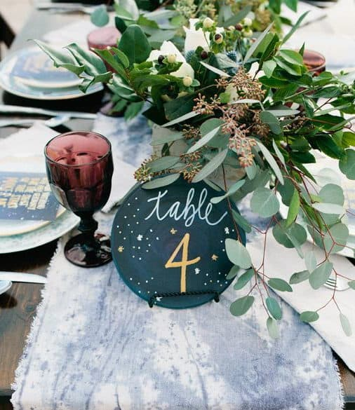 wedding dinner table numbering painted dish