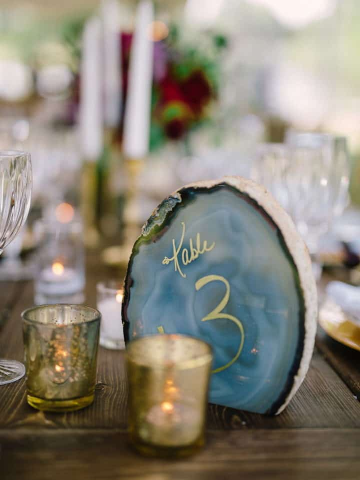 wedding dinner table numbering blue agate with a gold calligraphic number