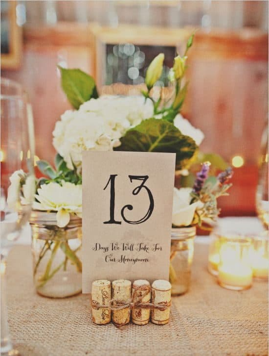 wedding dinner table numbering with corks