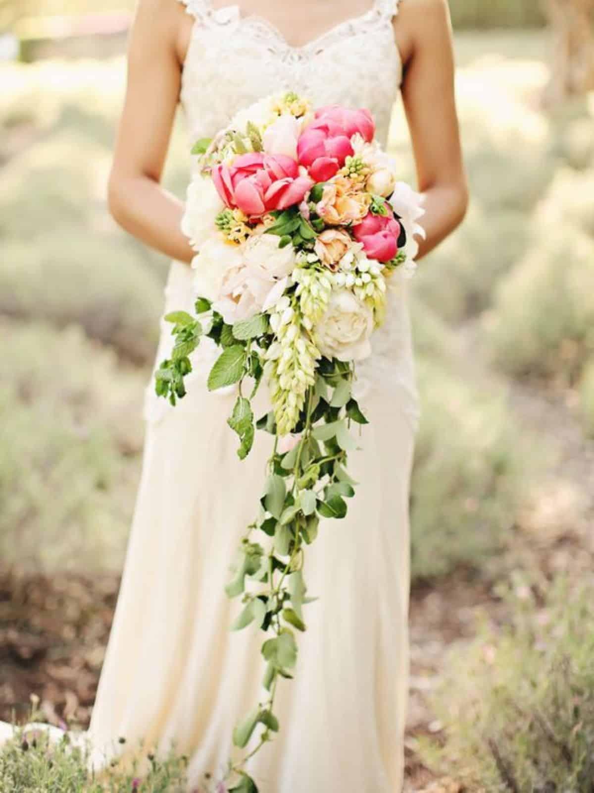 waterfall-shaped wedding bouquets