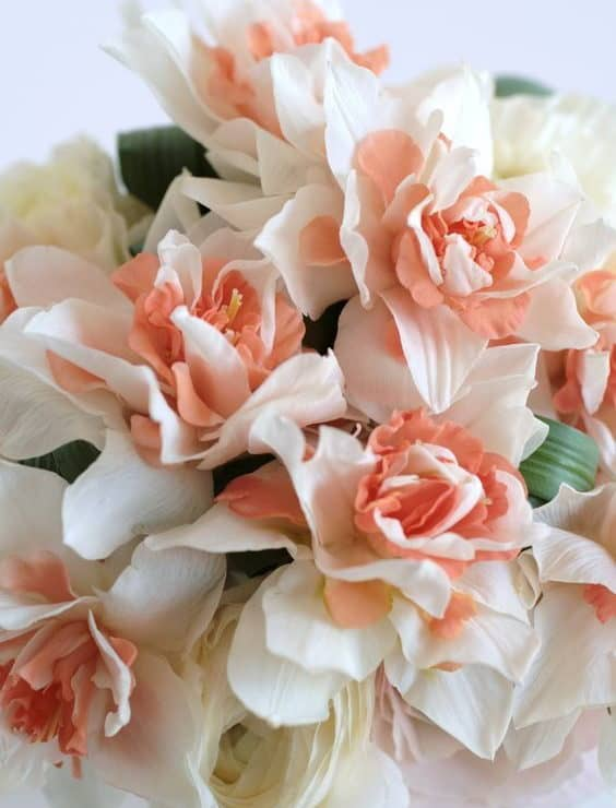 wedding bouquet with peach narcissus