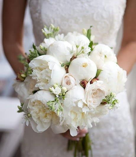 wedding bouquet with white peonies