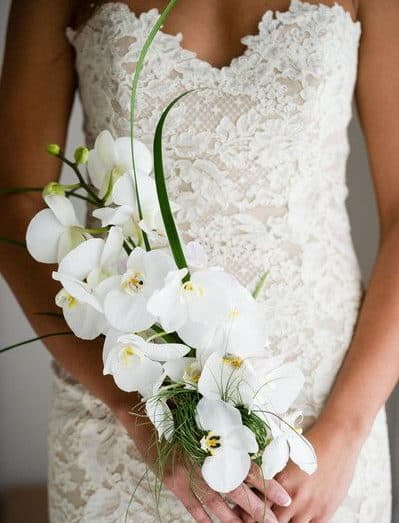 wedding bouquet with white orhid