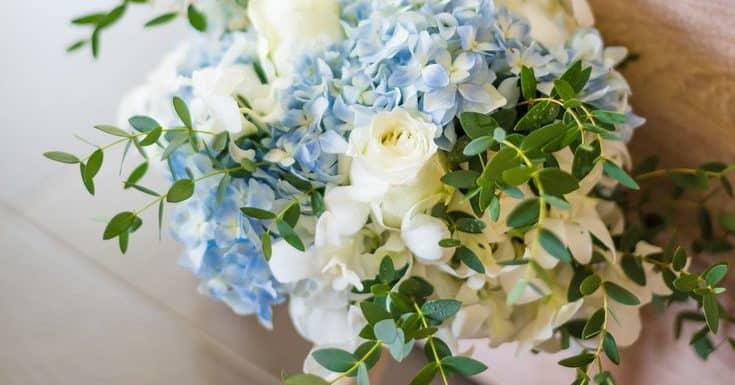wedding bouquet with light blue hortensias