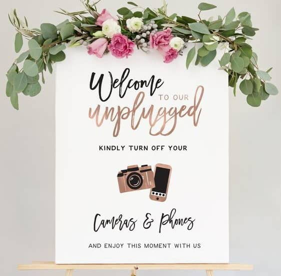 unplugged camera and phones for wedding ceremony