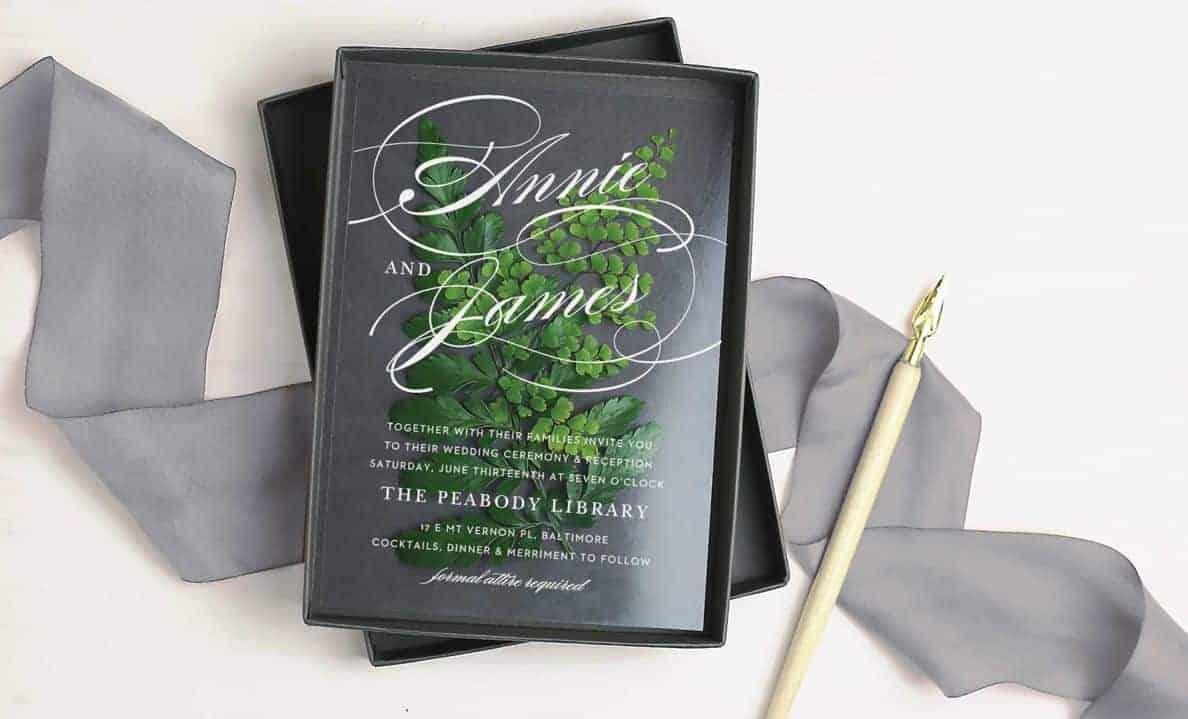 wedding invitation in a box