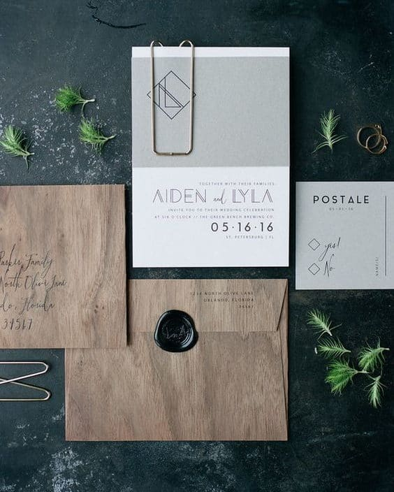 wedding invitation with wooden texture envelope and black