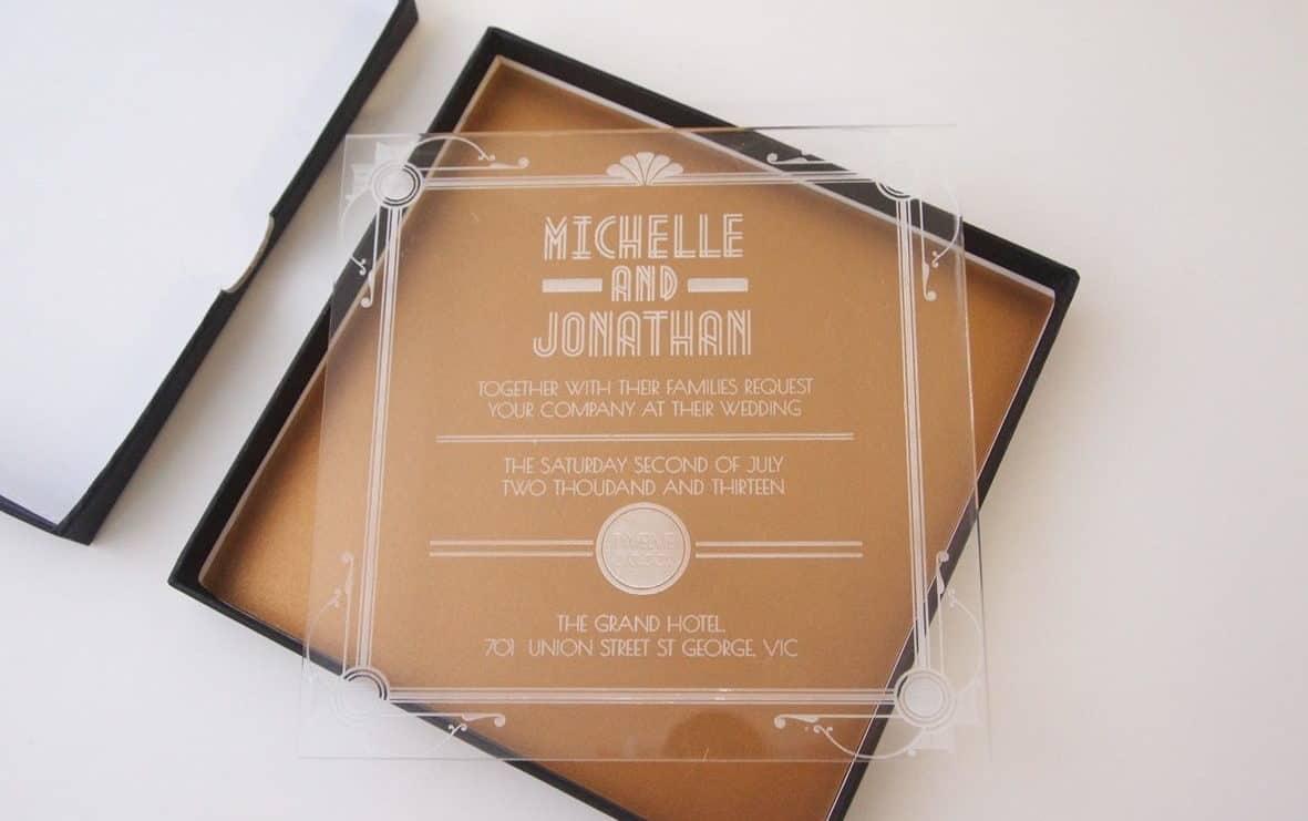 wedding invitation plexiglass in a box