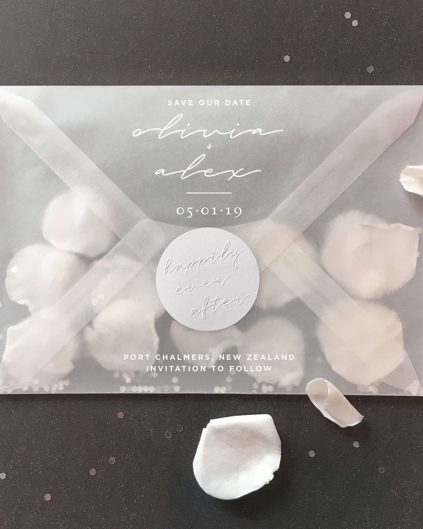 wedding save the date invitation with clear envelope