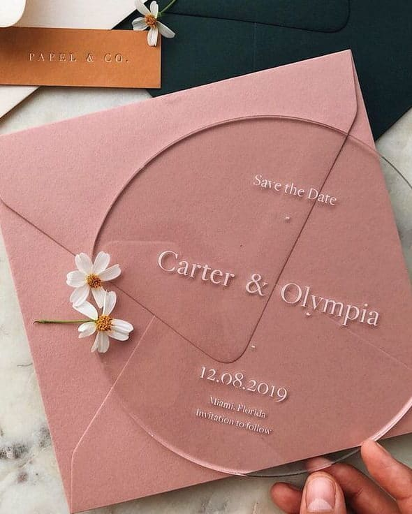 circle plexiglass save the date invitation with pink envelope