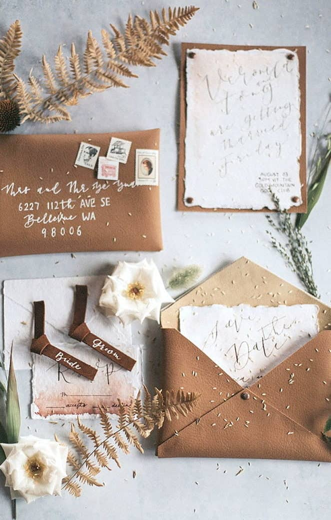 wedding invitation from recycled paper with leather envelope