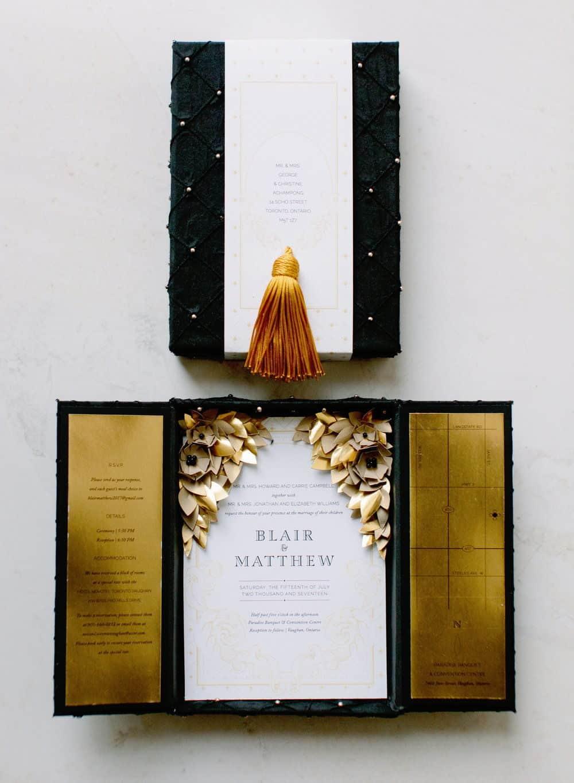wedding invitation in black velvet box