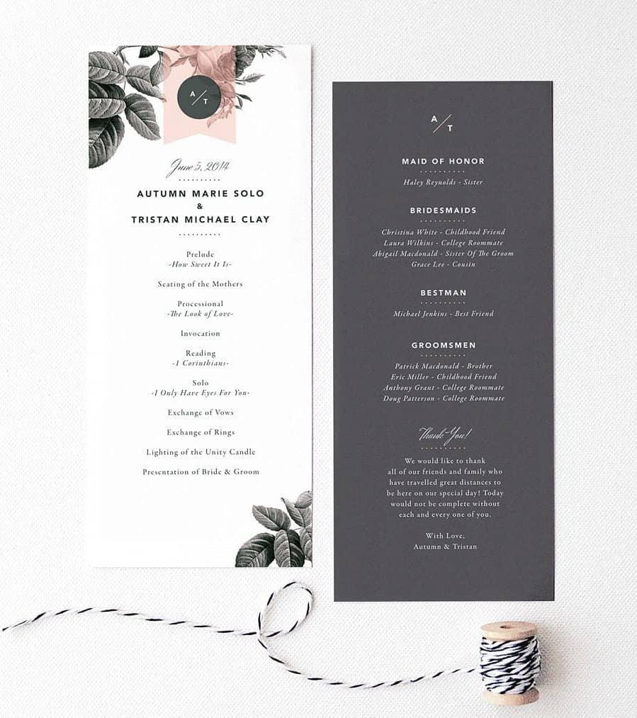 minimal wedding invitation with grey flowers