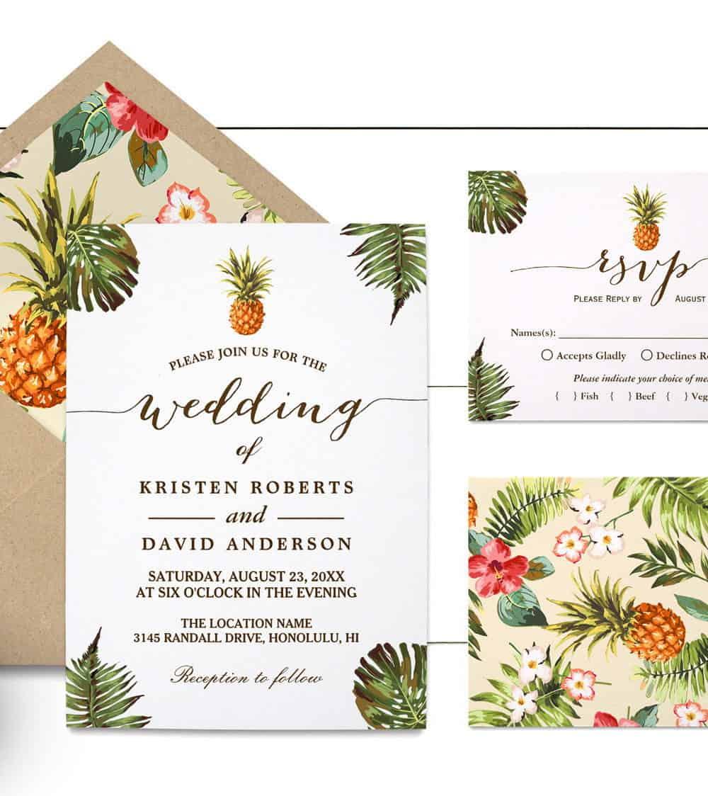 γαμήλια πρόσκηση με ανανά και λουλουδία