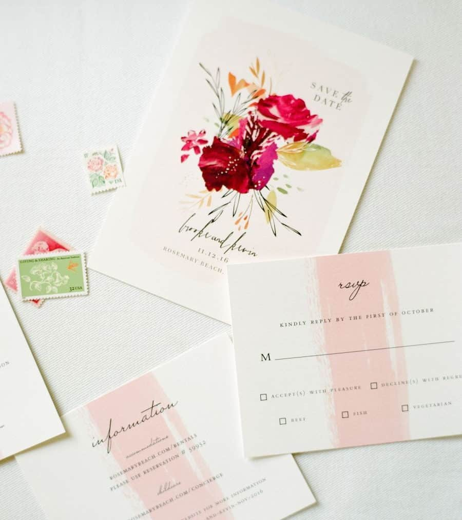 wedding invitation with pink watercolour and flowers