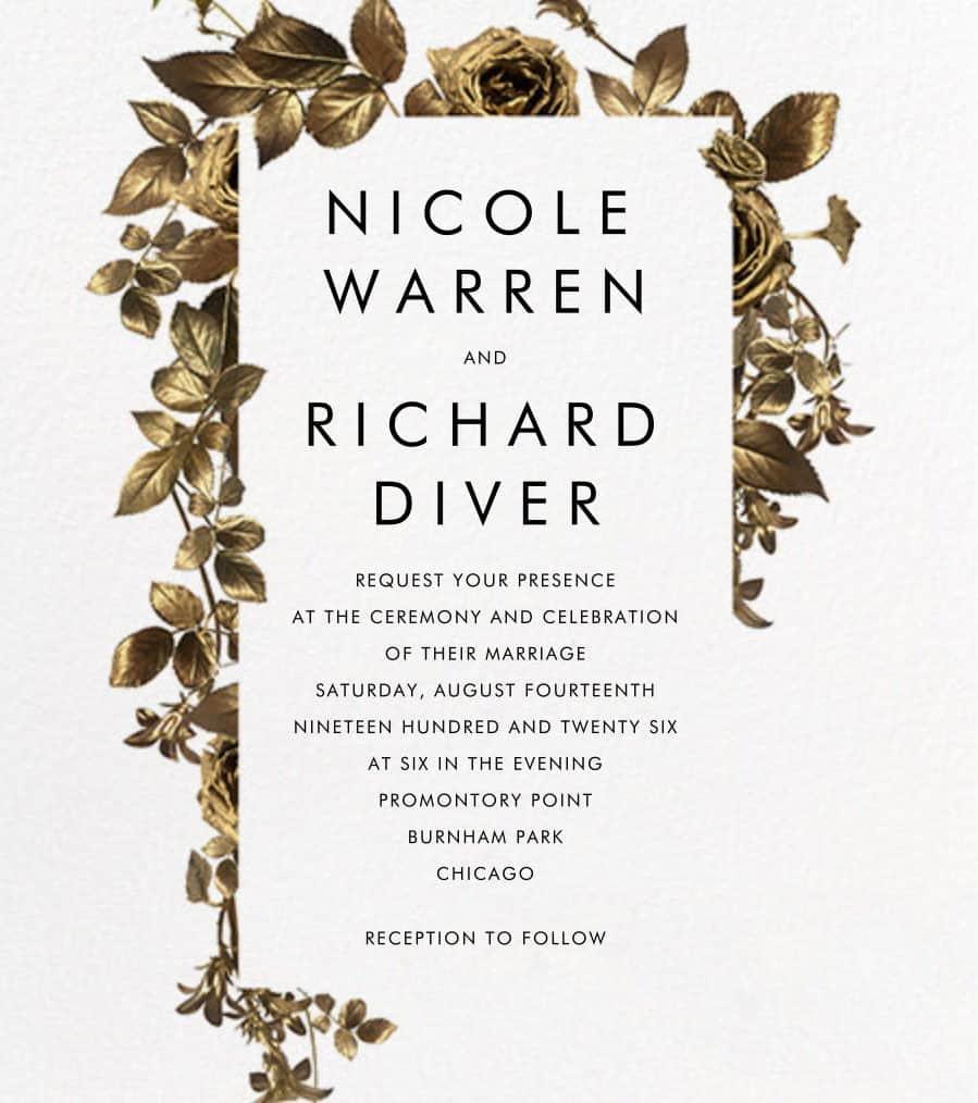 γαμήλια πρόσκληση με χρυσά λουλούδια
