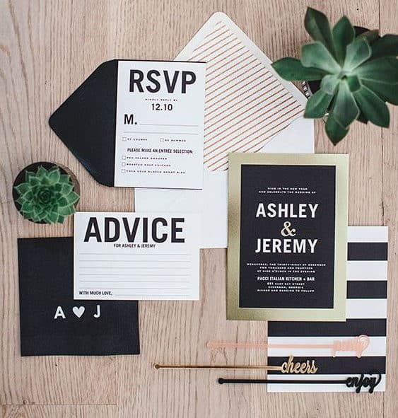wedding invitation with black and white stripes