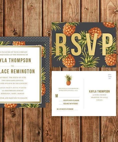 wedding invitation with pineapple