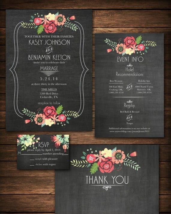 black wedding invitation with flowers