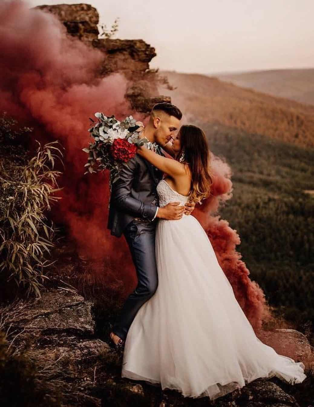 bride and groom with melancholic style photography