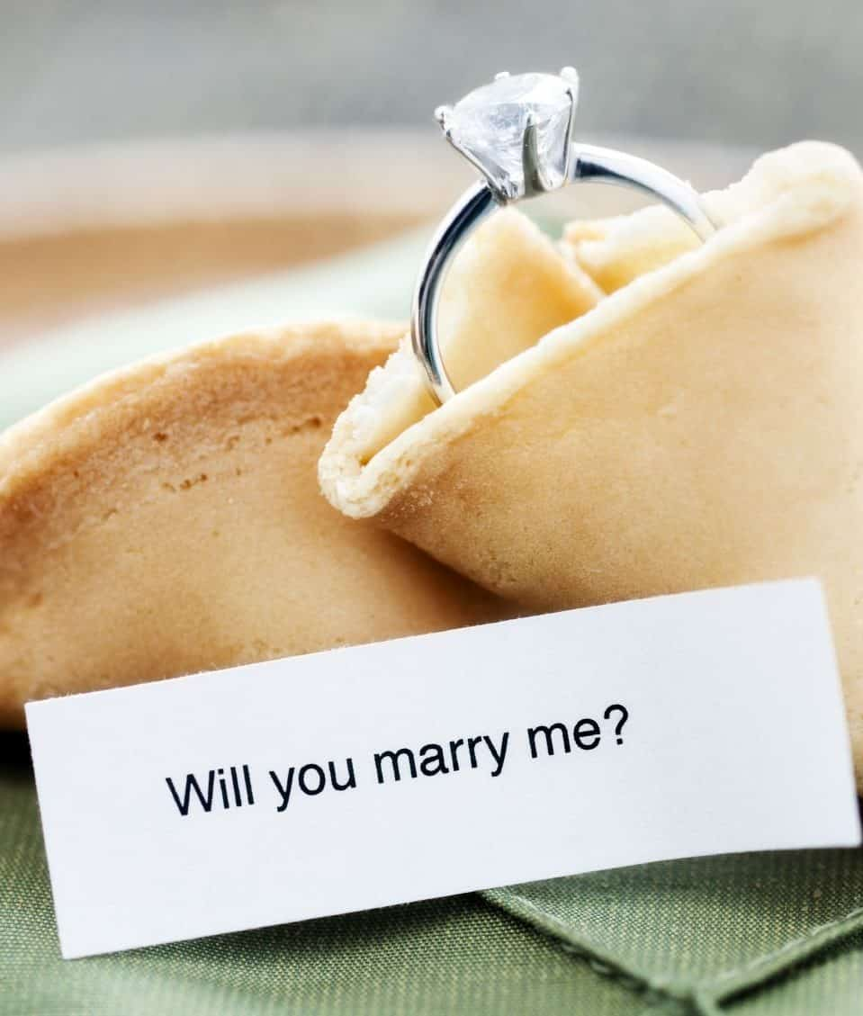wedding ring into the fortune cookie