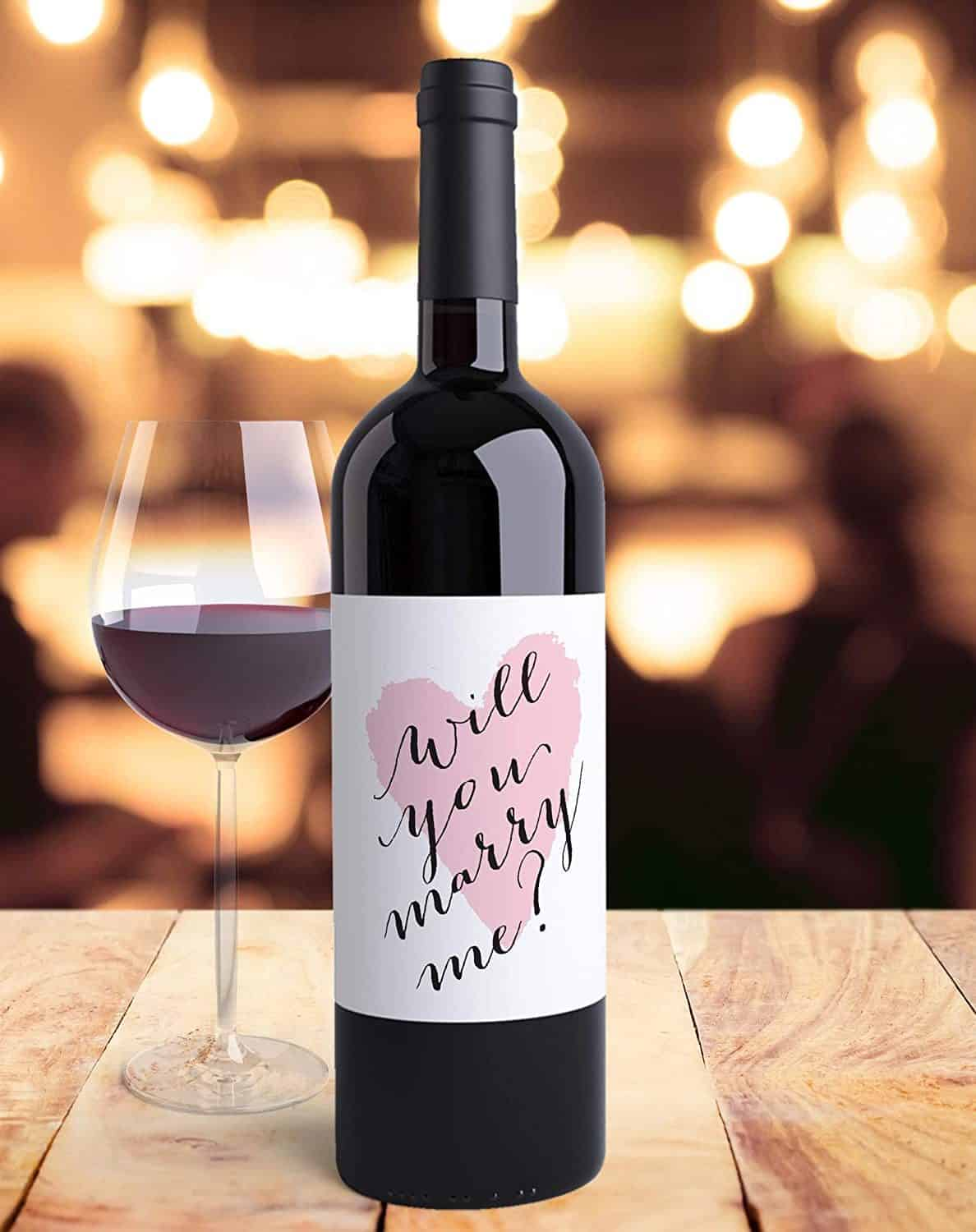 a wine bottle's label with wedding proposal