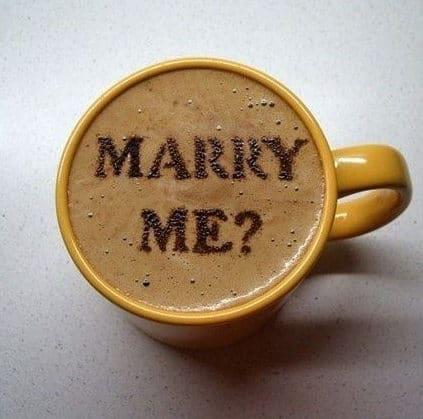 wedding proposal on the coffee