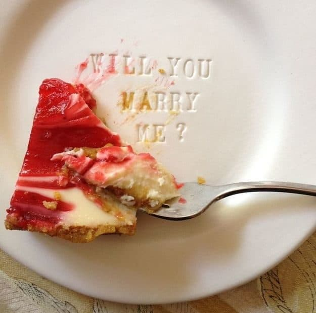 wedding proposal on the plate