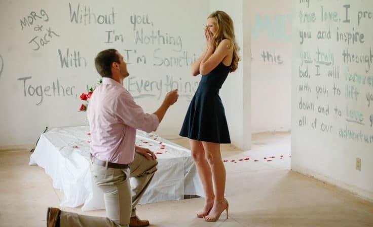 wedding proposal on the walls