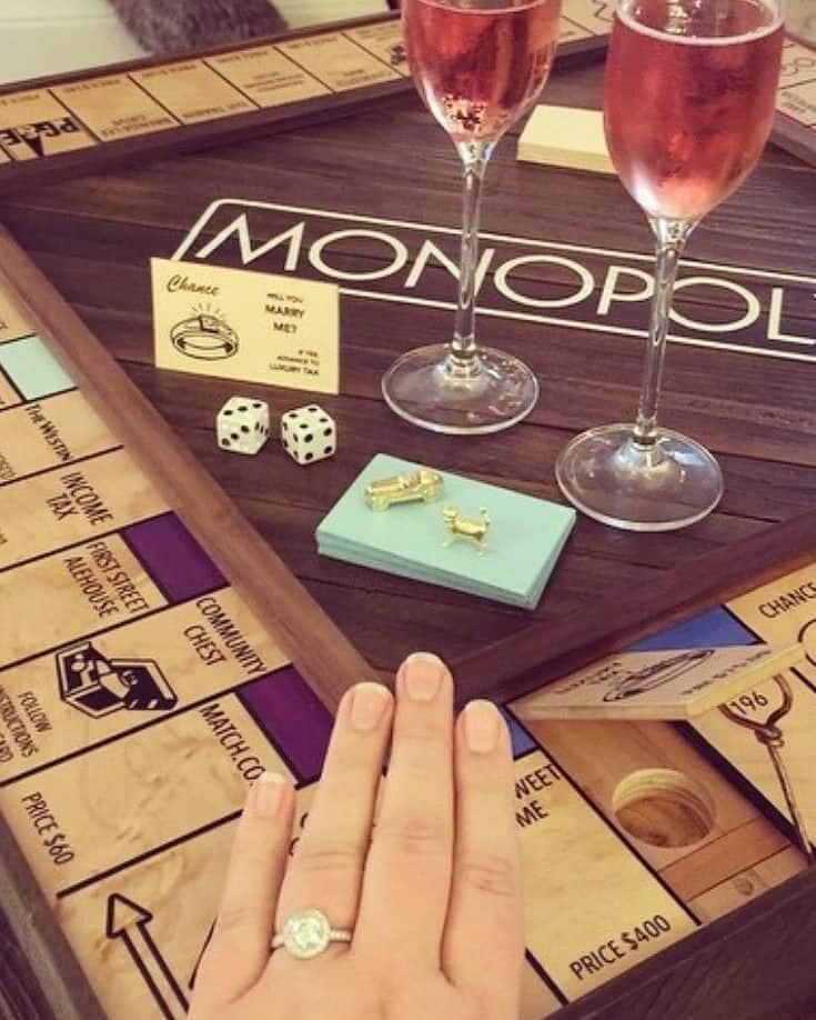 wedding proposal on monopoly board