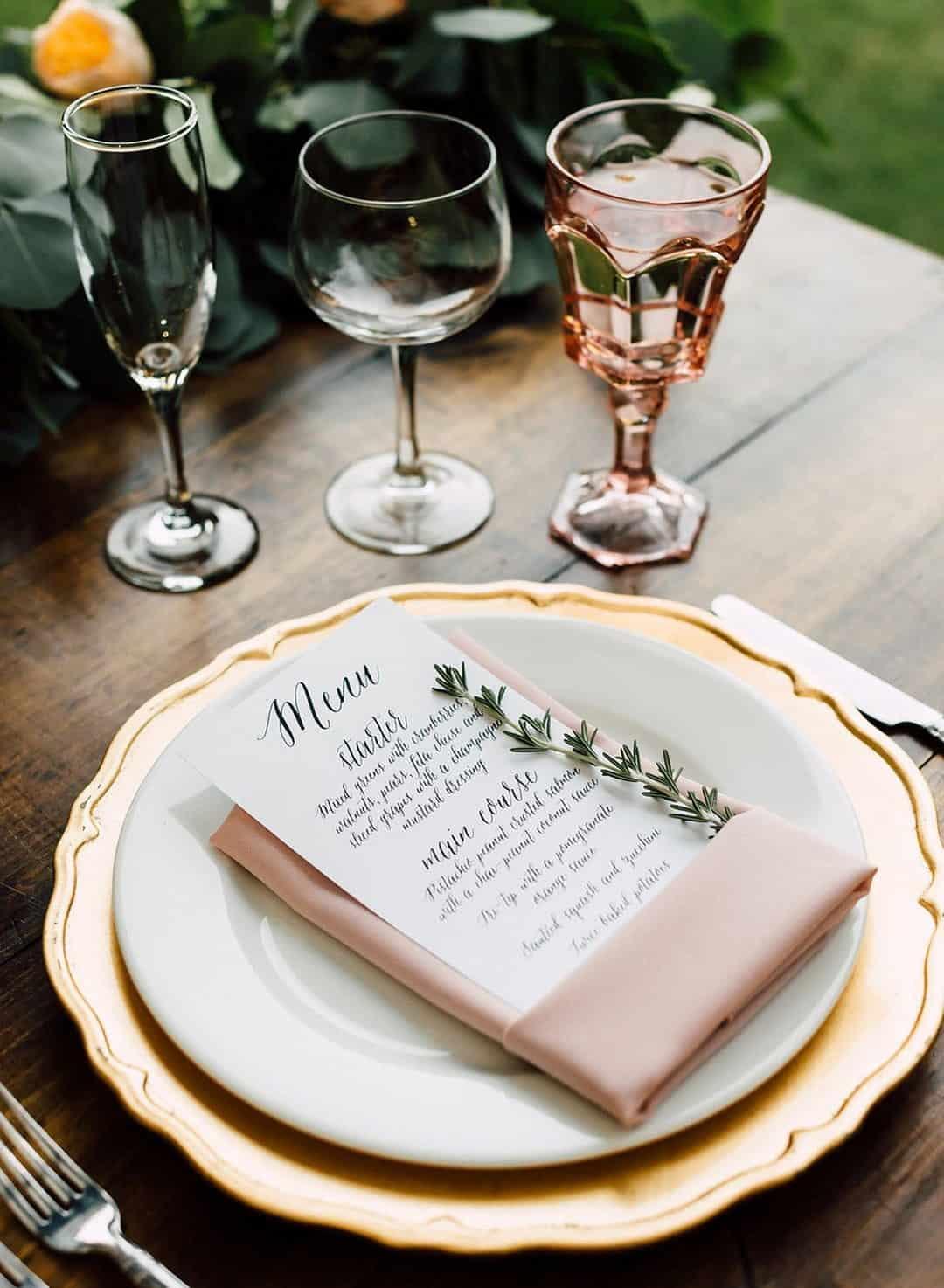 wedding menu on a plate
