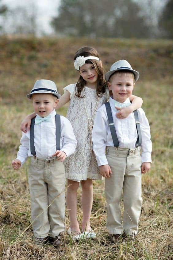wedding flower girl with Hippie style and ring bearer outfit page boys
