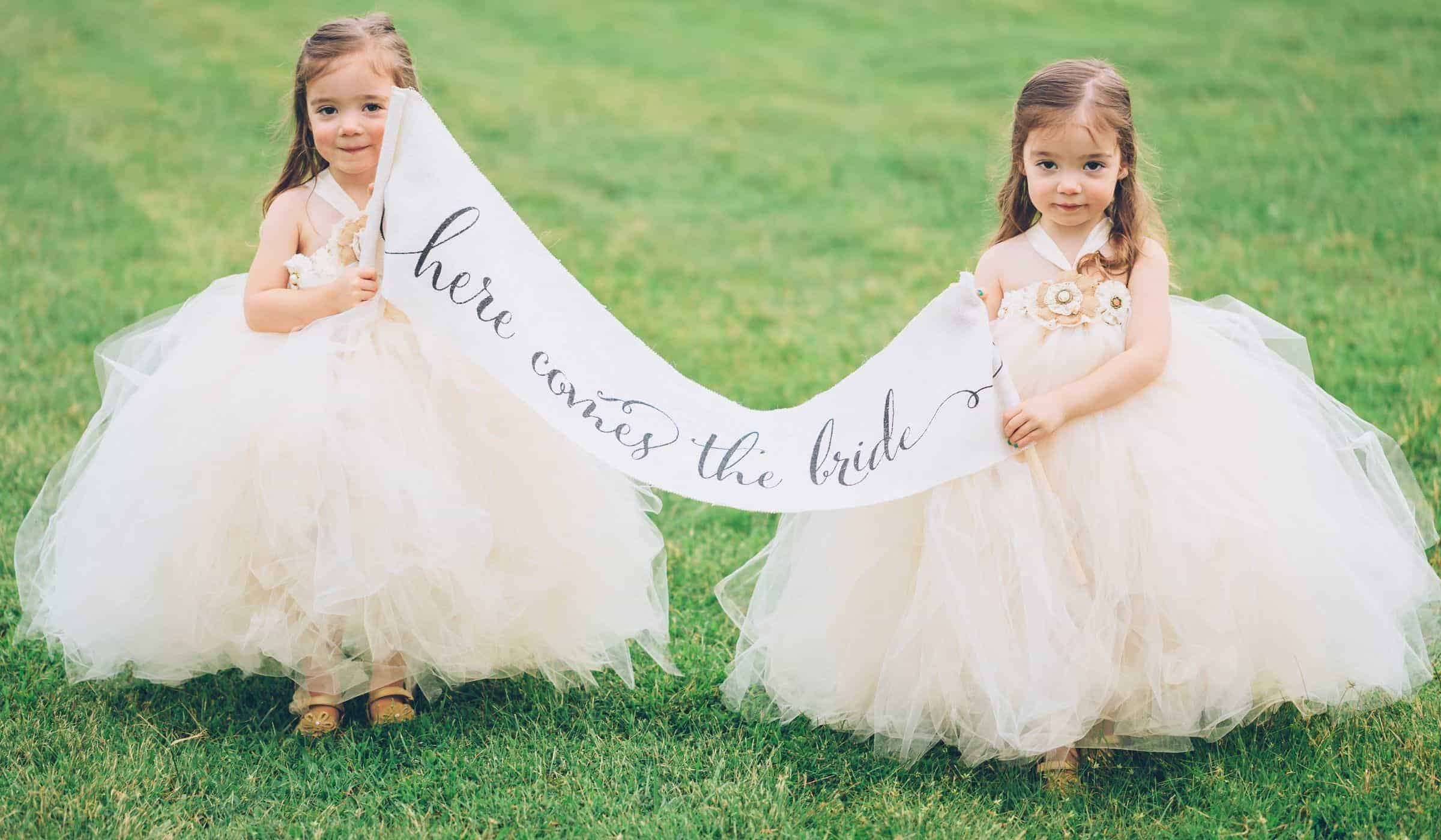 """twins flowers girls with the signs """"here comes the bride"""""""