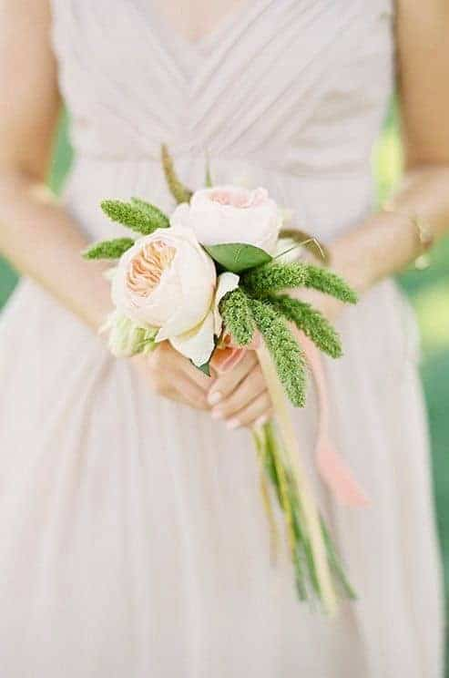 simple wedding bouquet with english roses