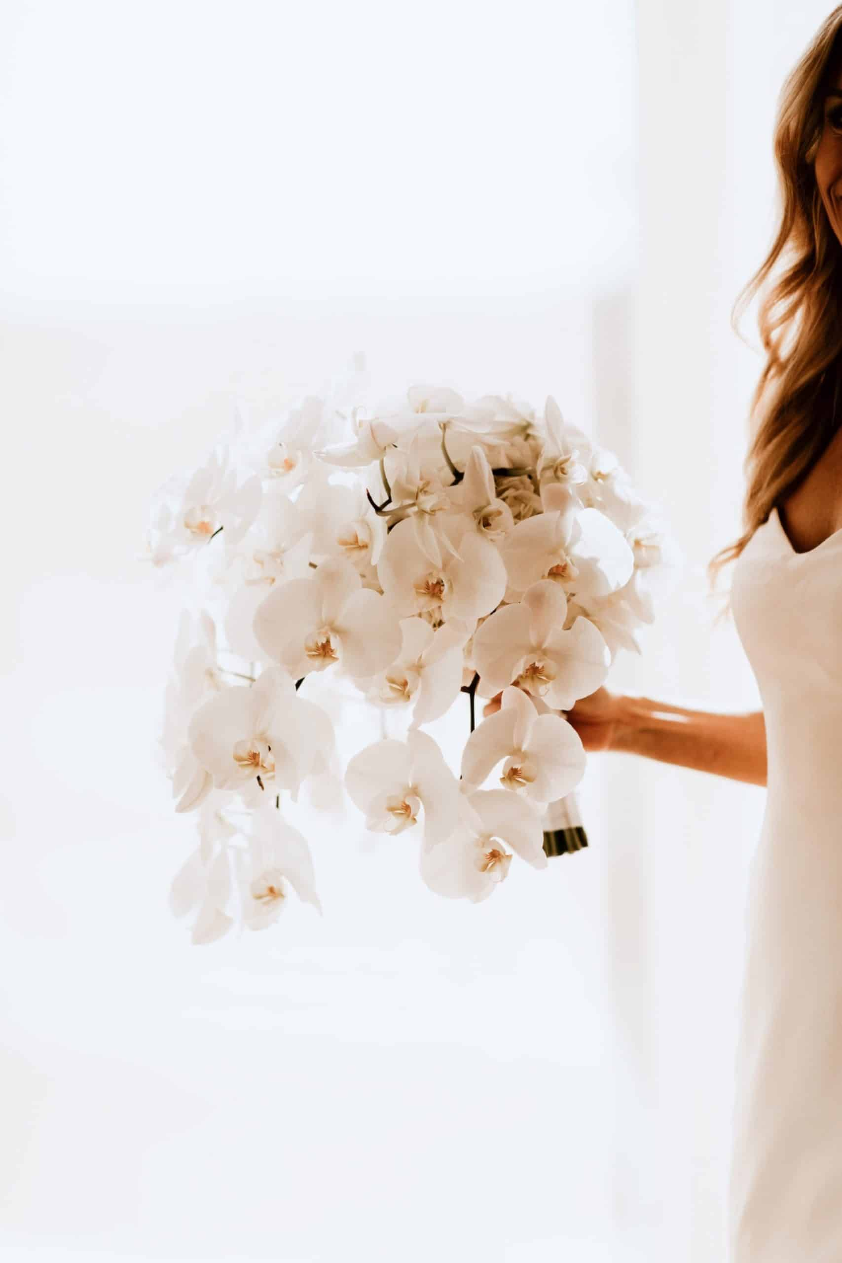 rounded wedding bouquet or a composition of orchids