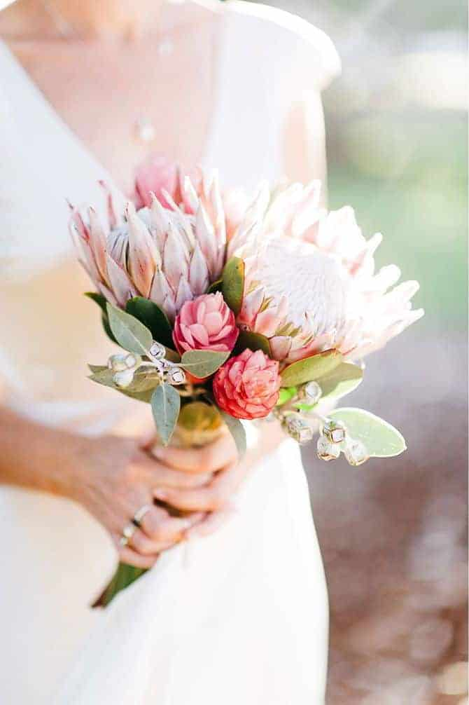 wedding bouquet with unusual and exotic plants