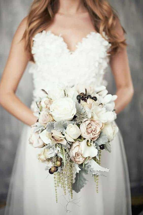 a waterfall-shaped wedding bouquet