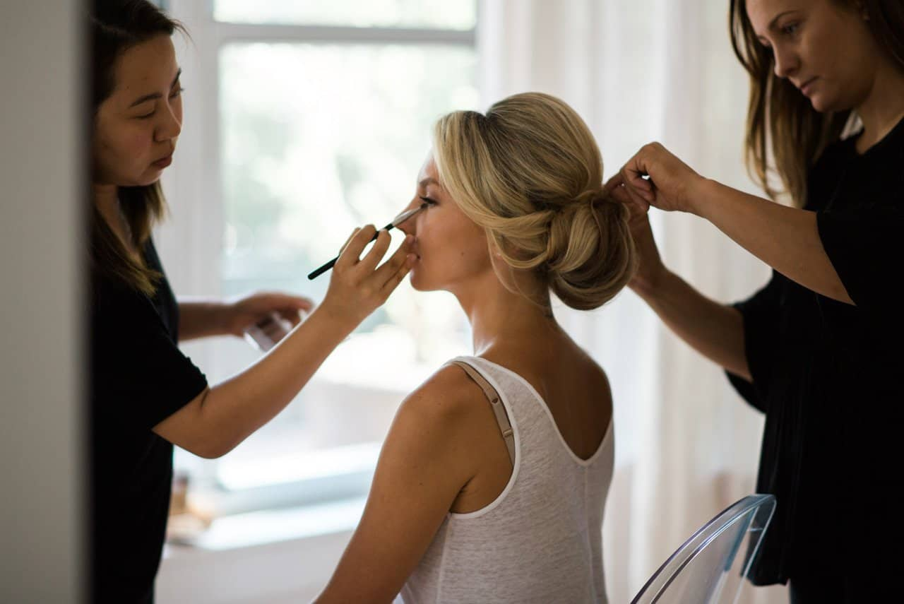 makeup and hair preparation on the wedding day